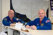 <strong>Astronauts Mark Kelly and Scott Kelly are pictured in the check-out facility at Ellington Field near NASA's Johnson Space Center. Credit: NASA</strong>