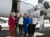 <strong>Girls can meet accomplished Women Of Aviation during the week. From left to right: CarolAnn Garratt, Carol Pilon, Marguerite Varin, Carole Pilon, Roseline Boire, Mireille Goyer</strong>