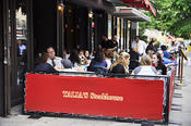 <strong>Talia's: Large outdoor sidewalk cafe seating in Upper West Side of Manhattan Glatt kosher restaurant, New York City</strong>
