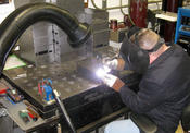 <strong>Sentry Air Systems client Edker Industries, Inc. uses a Model 400 Welding Fume Extractor to remove hazardous Hex Chrome fumes while welding stainless steel.</strong>