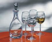 <strong>Handblown non-lead crystal decanter and machine-made wine glasses engraved with your logo, personalized text or custom logo.</strong>