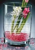 <strong>Crystal Pocket Vase deep etched with a poem.</strong>