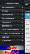 <strong>Race Connection Race Track Schedule App Menu</strong>