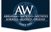 The Houston law firm of Abraham, Watkins, Nichols, Sorrels, Agosto & Friend has supported AAF since its inception. To learn more, call 713-587-9668 or contact us online at www.abrahamwatkins.com.