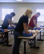 <strong>Attendees practice the skill of providing chest compressions</strong>