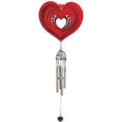 <strong>Iron Stop Heart Wind Spinner with Chimes</strong>