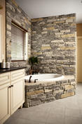 <strong>Bathroom accent wall using Heritage Stone by ProVia</strong>