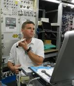 <strong>NASA astronaut Reid Wiseman, a flight engineer aboard the space station, during prelaunch ground training for use of the Ultrasound-2 device which is used for the Cardio Ox study. Image Credit: NASA</strong>