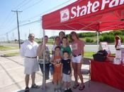 <strong>Saginaw State Farm Agent Linda Allen at the annual school bag giveaway.</strong>