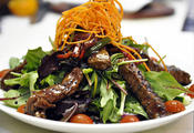 <strong>Thai beef or salmon salad at Talia's - A premier dish on Talia's Nine Days menu</strong>
