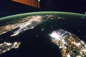 <strong>North Korea (the dark area) and South Korea at night. Image Credit: NASA</strong>