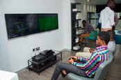 <strong>Surfline's Online Gaming Experience located in the LTE Lounge at their Flagship Store in Ghana's capital of Accra.</strong>