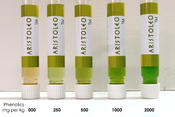 <strong>Aristoleo(tm) Test Kit &quot;lab in a vial&quot; The deeper the green, the high the phenolic content.</strong>