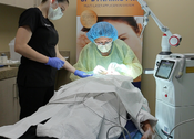 <strong>Dr. Mani treating at La Jolla Cosmetic Laser Clinic</strong>