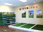 <strong>Inside the new SYNLawn Arizona showroom in Phoenix, the facility includes a display of the different types of artificial grass offered.</strong>