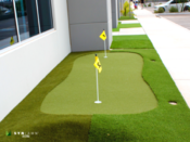 <strong>Just outside the new SYNLawn Arizona showroom is a SYNLawn putting green display.</strong>