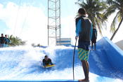 "Beginner riders test out the AquaWorld Cancun FlowRider Friday, Jan. 6, 2017, having an amazing time doing the ""bodyboard.�"