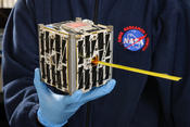PhoneSat 2.5, launched in April 2014, was developed by NASA Ames Research Center to use commercial smartphone technology for low-cost development of basic spacecraft capabilities.  Credits: NASA