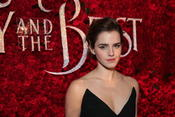 <strong>Emma Watson, who plays Belle, in front of rose wall</strong>