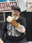 Kristian Nairn wearing his first Wrist Rack