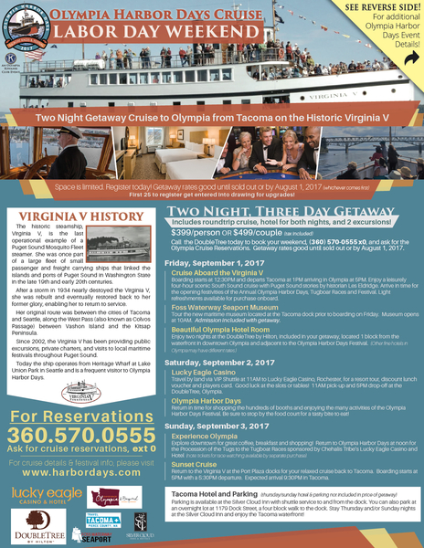 Olympia Festival Offer Weekend Getaway via Historic Steam Ship Virginia V