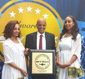 <strong>Mr. Tewolde GebreMariam, Ethiopian Airlines CEO, receiving award</strong>