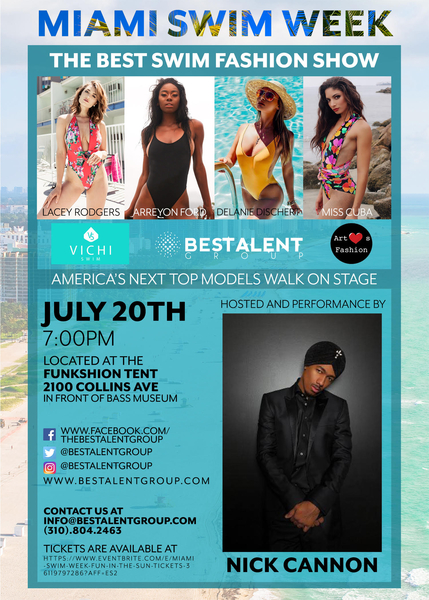 Art Hearts Fashion and BESTalent Group brought to you by AIDS Healthcare Foundation Present VICHI Swim Hosted by Nick Cannon During Miami Swim Week