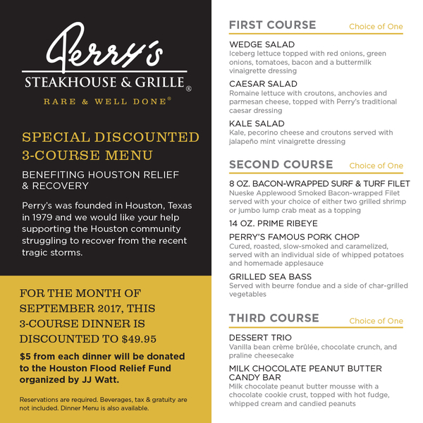 Perry's Steakhouse & Grille in Oak Brook to Offer Special Menu Benefiting Houston Flood Relief Fund