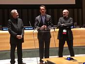 <strong>Fabien Cousteau with Producer Francois Mantello and Co-Director Jean-Jacques Mantello at a special screening of &quot;Wonders of the Sea&quot; at the United Nations Headquarters on Saturday, September 9, 2017.</strong>
