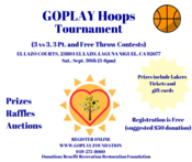 GoPlay Hoops Tournament Brochure on September 30th in Laguna Niguel at the El Lazo Courts