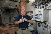 NASA astronaut Scott Kelly enjoys his first drink from ISSpresso machine on the International Space Station. Twins Study researchers can see what he drinks by evaluating his metabolites.