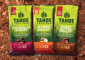 Tahoe Trail Bar flavors include peanut butter chocolate, mango coconut and dark chocolate cherry.