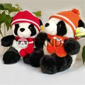 <strong>Pandas with red hat plush toy scarf panda doll gift set</strong>