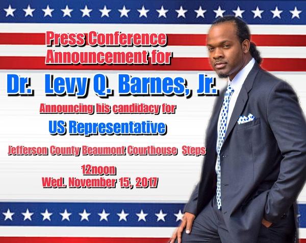 Businessman, Inventor, Educator, Preacher & Recording Artist, Dr. Levy Q. Barnes, Jr is Running for US Congress