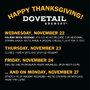 Celebrate Thanksgiving All Weekend Long at Dovetail Brewery