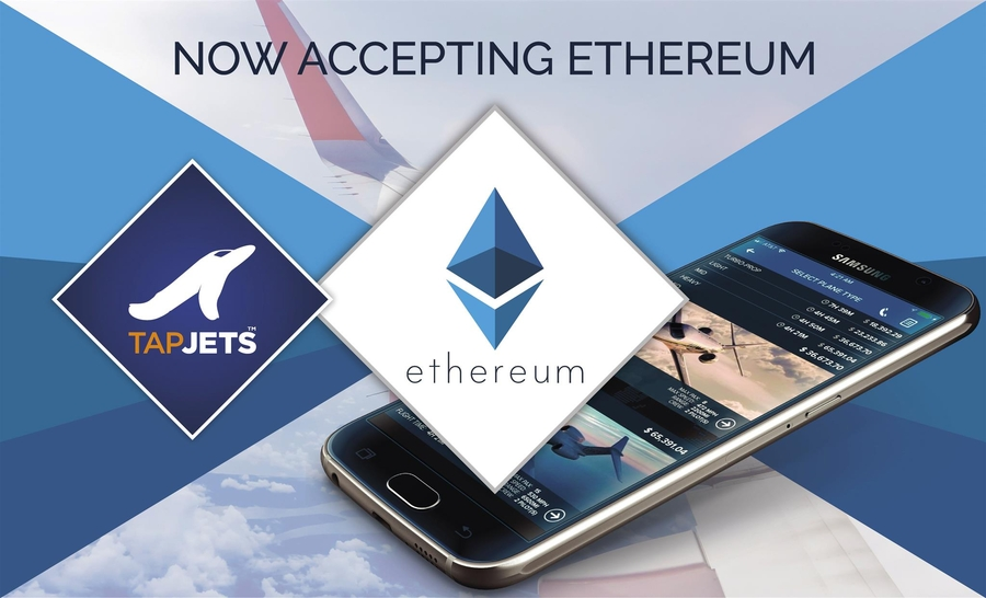 TapJets, the Largest Private Jet Instant Booking Platform, Now Accepts Ethereum Cryptocurrency as a Form of Payment