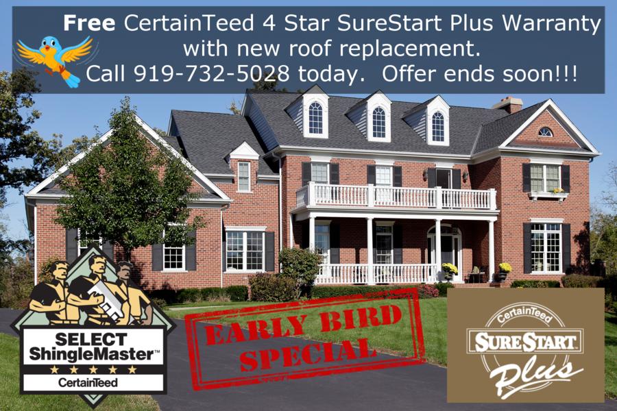 Early Bird Gets Free 4 Star Certified Surestart Plus CertainTeed Warranty