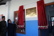 <strong>Honorable Mrs. Bidhya Devi Bhandari, President of Nepal Revealing School Plaque</strong>