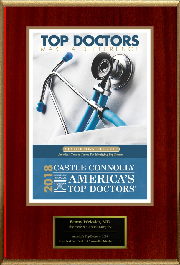 Dr. Benny Weksler, a Specialist in Thoracic & Cardiac Surgery, is Named one of America's Top Doctors® 2018