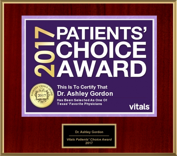 Dr. Ashley Gordon MD Honored With 2017 Patients' Choice Award