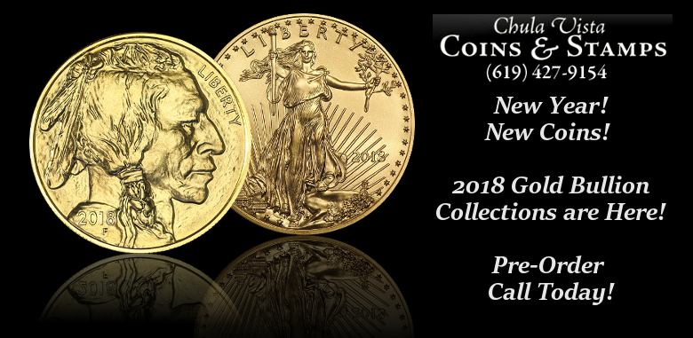 Chula Vista Coins Announces their Online Sales of 2018 Gold Bullion Coins