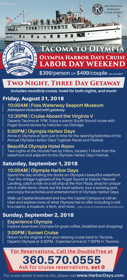 Weekend Getaway Cruise to Olympia Harbor Days via Historic Steam Ship Virginia V