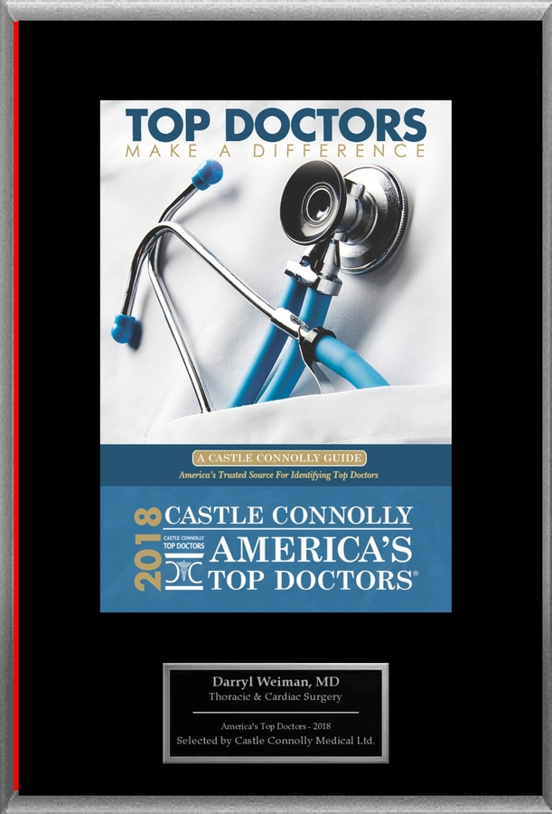Dr. Darryl Weiman, a Specialist in Thoracic & Cardiac Surgery, is Named One of America's Top Doctors® 2018