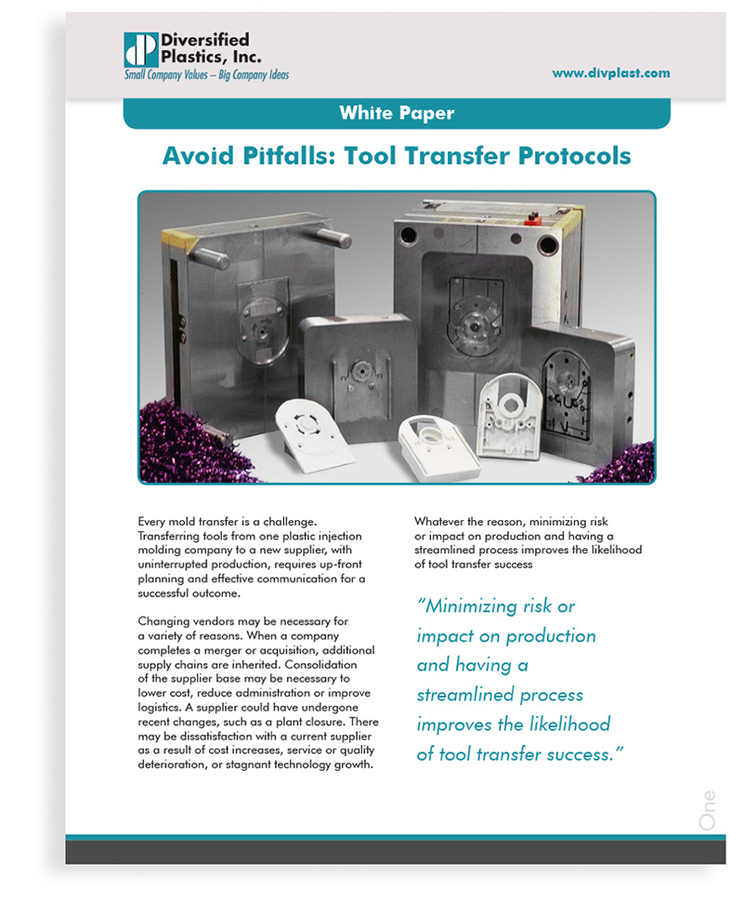 New Diversified Plastics, Inc. White Paper Provides Insight on Avoiding Pitfalls When Transferring Tools to a New Vendor