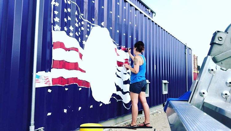 Artist Kelli Blair is Honoring Navy World War II Hero with a Patriotic Mural at the 'Snap and Share Art Walk' in the Fort Worth Design District