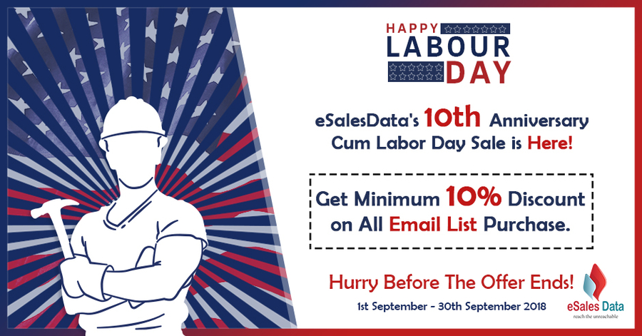 eSalesData Offers Amazing Labor Day Anniversary Discounts on All Email Lists