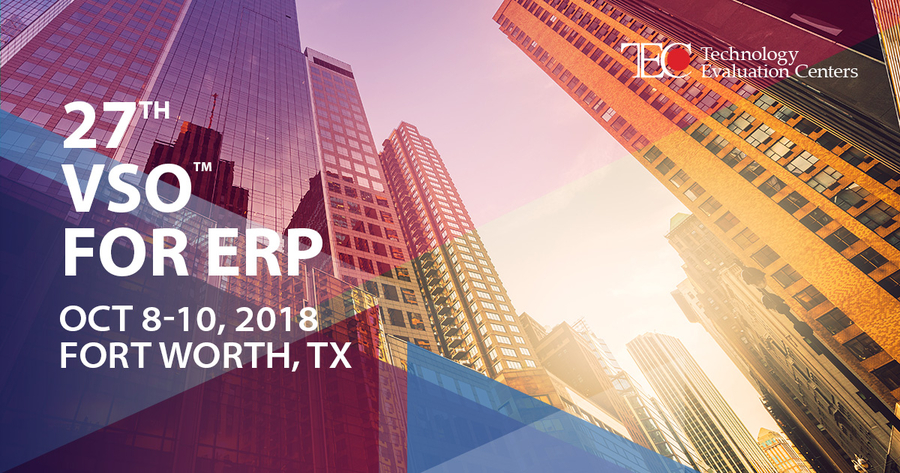 Jump-start Your Enterprise Software Selection Process at the 27th VSO™ for ERP in Dallas–Fort Worth, TX