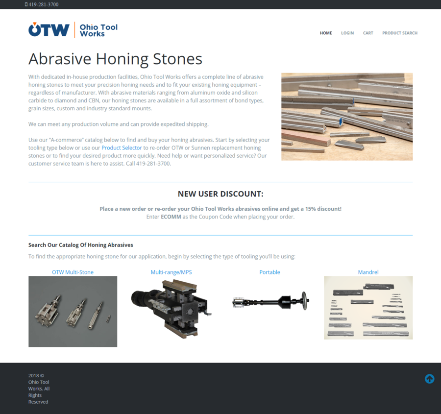 Ohio Tool Works Launches Honing Industry's 1st E-commerce Website for Abrasive Stones