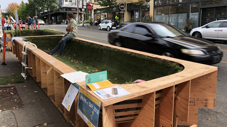 Montgomery + Townsend Architecture Park Pool Installation as Part of Seattle Design Festival PARK(ing) Day Event