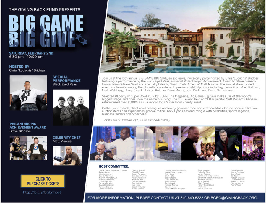Ludacris To Host Super Bowl LIII Largest Charity Event – Big Game Big Give